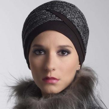 Turban Doris noir/flanelle - MM Paris