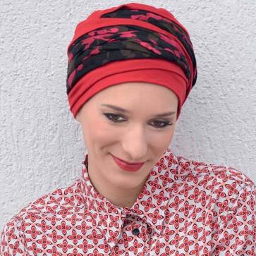 Turban Doris rouge/noir - MM Paris