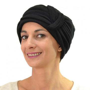 Turban Doudei en laine et cachemire noir - Céline Robert