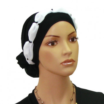 Turban Elena en coton noir et blanc