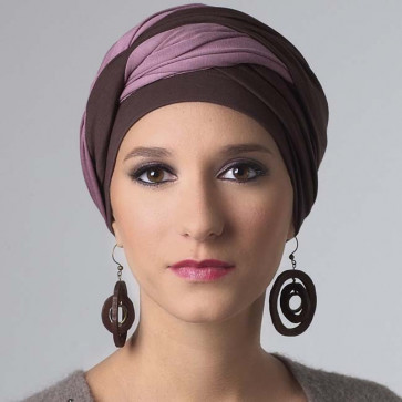 Turban femme Leslie brun/rose - MM Paris