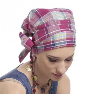 Foulard préformé coton Romy écossais - La Galerie des turbans