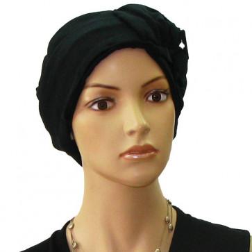 Turban Gisèle en coton noir - Céline Robert