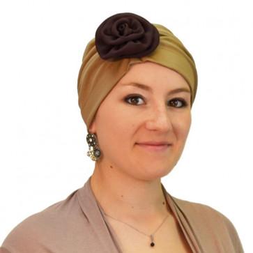 Turban Lady bicolore en coton camel - Rosalie Rose