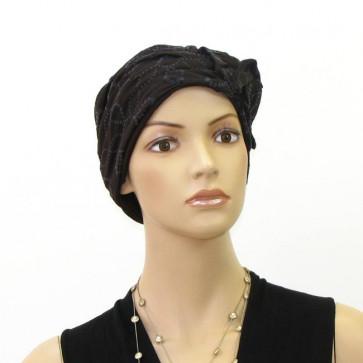 Turban Loumi en coton drapé marron - Celine Robert