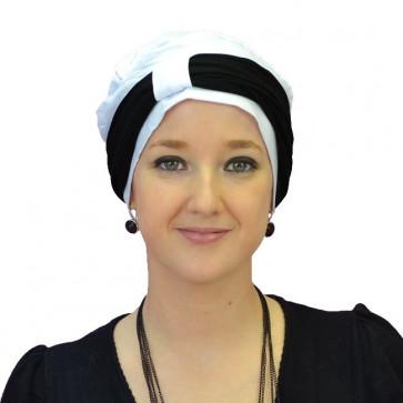 Turban Lys blanc bandeau noir - Comptoir de Vie