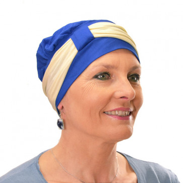 Turban Lys bleu bandeau blanc - Comptoir de Vie