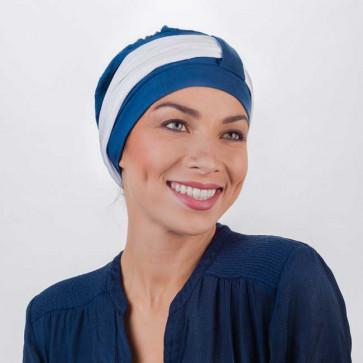 Turban Lys bleu pétrole bandeau blanc