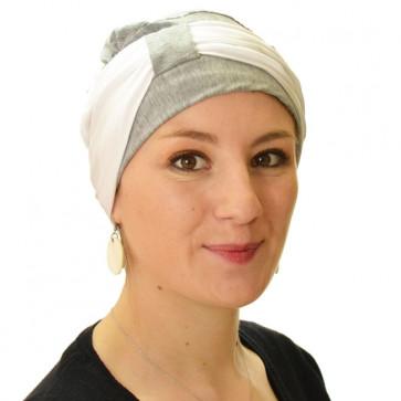 Turban Lys gris chiné bandeau blanc - Comptoir de Vie