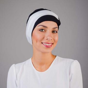 Turban Lys noir bandeau blanc