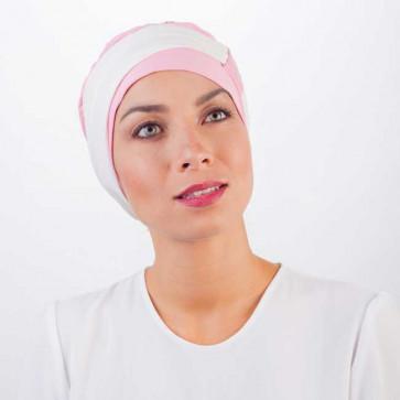 Turban Lys rose clair bandeau crème - Comptoir de Vie