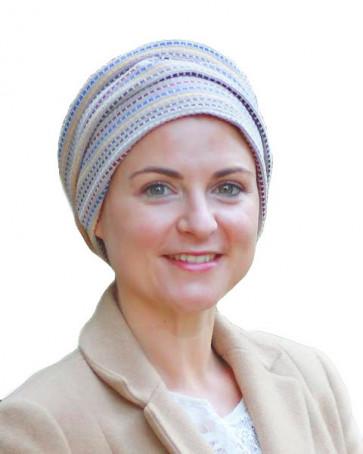 Turban Maya Beige motif lignes colorées - Look Hat Me
