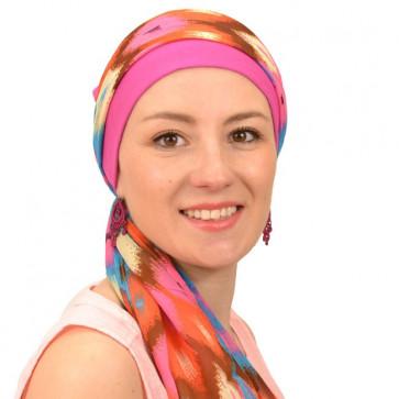 Turban bonnet Riga et son bandeau à nouer - Rose et Turquoise