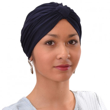 Turban Sarah drapé en coton bleu marine - Comptoir de Vie
