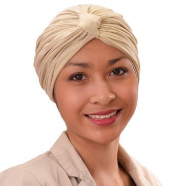 Turban Sarah drapé en coton Beige - Comptoir de Vie