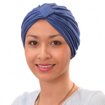 Turban Sarah drapé en coton Bleu Pétrole - Comptoir de Vie