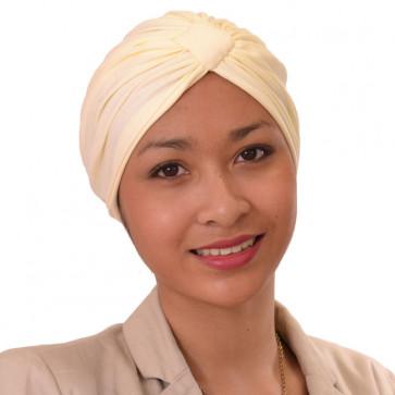 Turban Sarah drapé en coton Crème - Comptoir de Vie