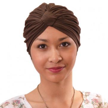 Turban Sarah drapé en coton marron - Comptoir de Vie