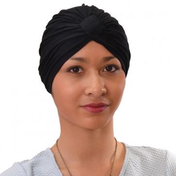 Turban Sarah drapé en coton Noir - Comptoir de Vie