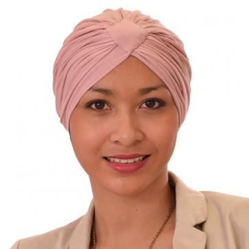 Turban Sarah drapé en coton Rose clair - Comptoir de Vie