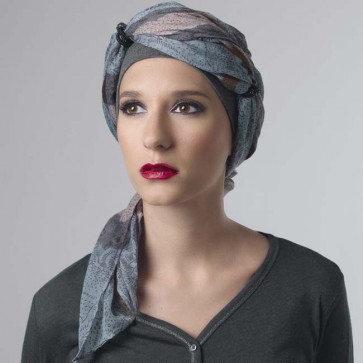 Foulard Sheila gris/bleu - MM Paris