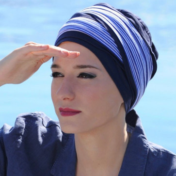 Turban Doris rayé marine - MM Paris