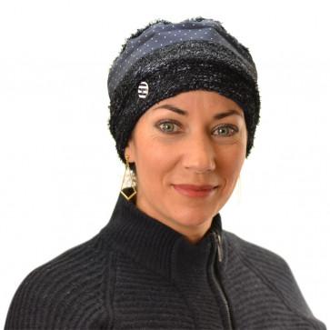 Bonnet Nocni doublé en polaire noir/bleu