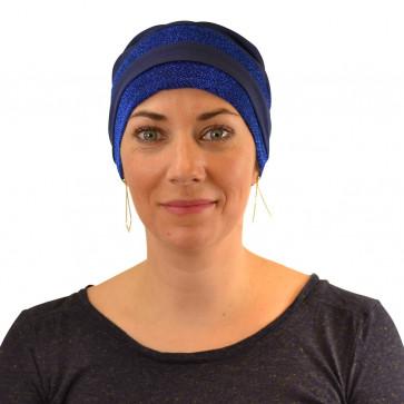Turban Sandra pailleté-Bleu