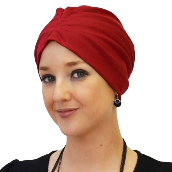 Bonnet de nuit coton drapé rouge