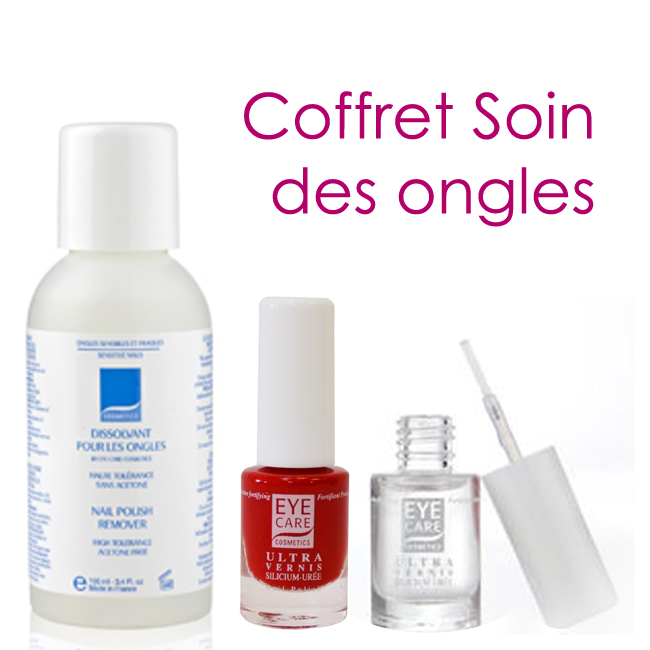 coffret soin des ongles 1 vernis color 1 vernis incolore 1 dissolvant eye care. Black Bedroom Furniture Sets. Home Design Ideas