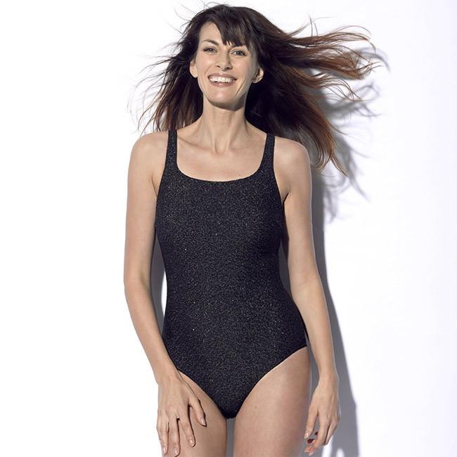 Maillot de bain une pièce pour prothèse mammaire noir pailleté Meryl Marli Paris