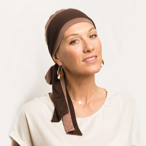 Foulard préformé Athéna marron bandeau réversible marron/chocolat - Comptoir de Vie