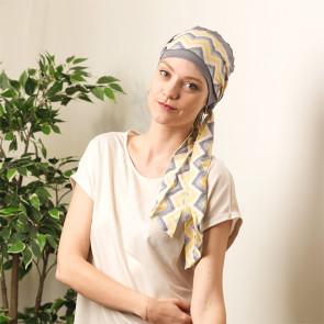 Turban chimio Aurore gris à rayures - Comptoir de Vie