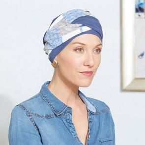 Turban chimio Austin bleu - Comptoir de Vie
