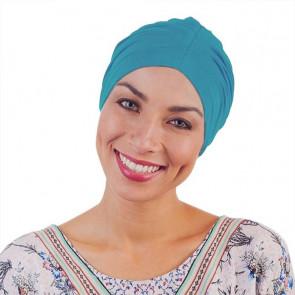 Bonnet de nuit coton drapé turquoise - Comptoir de Vie