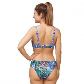 Maillot de bain deux pièces pour prothèse mammaire - City Safari jungle bleu - Amoena