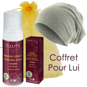 Le Coffret pour Lui - 1 bonnet Beanie gris chiné + 1 mousse à raser + 1 fluide hydratant