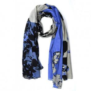 Foulard coton à nouer Aquarelle bleu