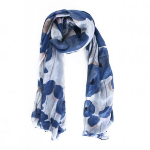 Foulard coton à nouer Coquelicot bleu