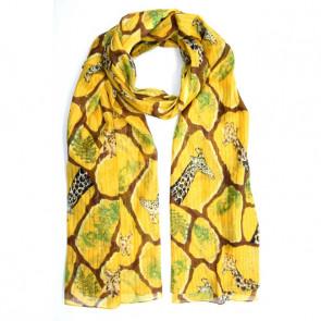 Foulard carré à nouer jaune Girafe et feuillage - Comptoir de Vie