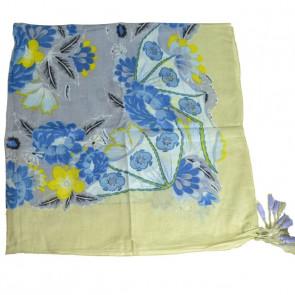 Foulard carré chimio Loudi - Bleu/Beige
