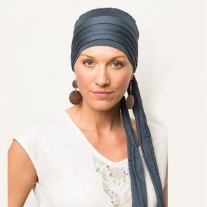 Foulard préformé Greta bleu pétrole bandeau amovible - Comptoir de Vie