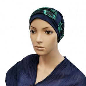 Turban Lys bleu - bandeau feuillage - Comptoir de Vie