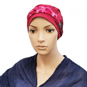 Turban Lys framboise bandeau panthere rose