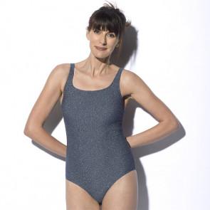 Maillot de bain une pièce pour prothèse mammaire gris pailleté - Meryl - Marli Paris