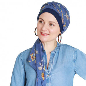 Foulard chimio New Delhi Fantaisie - Bleu motif champêtre - Look Hat Me
