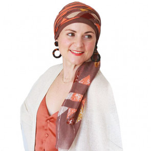 Foulard chimio New Delhi Fantaisie - Marron rayé orange - Look Hat Me