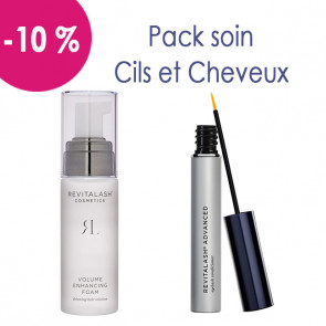Pack soin après chimio pour cils et cheveux : 1 Mousse Volumisante Hair by Revitalash et 1 Revitalash advanced