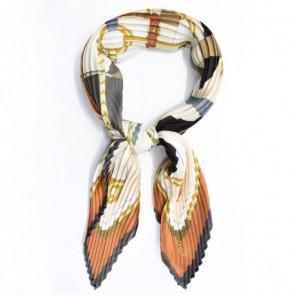 Foulard carré plissé - Marron / Orange