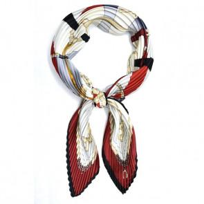 Foulard carré plissé à nouer - Noir / Rouge